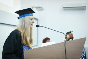 speaks at graduation